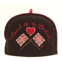 Proud to be British Union Jack Flag Tea Cosy black red grey wool