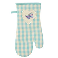 Duck Egg Blue Gingham Gauntlet