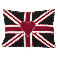 Union Jack cushion, black, red and cream wool, hand embroidered