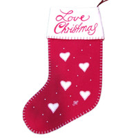 Love Christmas heart stocking, red and cream wool