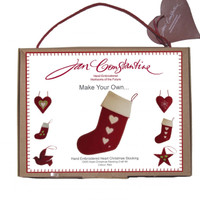 Heart Christmas stocking craft kit, red and cream wool