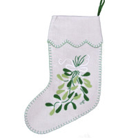 Mistletoe Christmas stocking, linen, cream and green