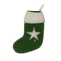 Small green Christmas stocking, decoration, wool, hand-embroidered