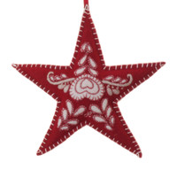 Romany tree star Christmas decoration, heart, red and cream, hand-embroidered