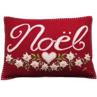 Alpine Noel cushion, Christmas collection, flowers, red wool