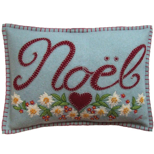Noel designer cushion, Christmas collection, pale blue, red heart and flowers