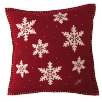 Snowflake designer Christmas cushion, red and cream wool