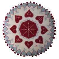 Fair Isle Heart Christmas cushion, round with pale blue, red and cream wool