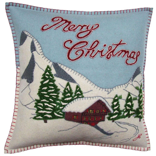 Alpine Chalet designer cushion, Christmas collection, mountains, snow, wool
