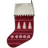 alpine, tree, red, stocking, Christmas, festive, cream, wool