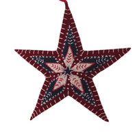 Star Christmas decoration, navy blue, red and cream wool