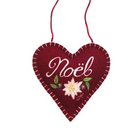 Noel red heart Christmas decoration, wool, hand-embroidered