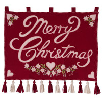 Merry Christmas Alpine wall-hanging, flowers and hearts, hand-embroidered