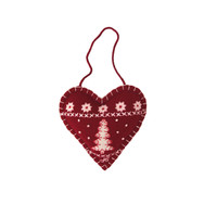 Small tree heart Christmas decoration, red and cream wool