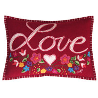 Gypsy Love cushion, red wool, flowers multi-coloured