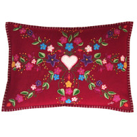 Gypsy Union Jack cushion, cream heart, red wool, multi-coloured flowers