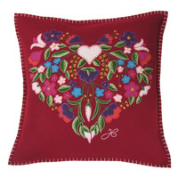 Gypsy heart designer cushion, flowers, red wool, multi-colours