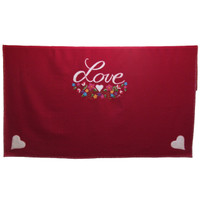 Gypsy Love and hearts red wool throw, multi-coloured flowers