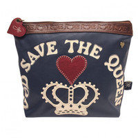 God Save The Queen navy blue washbag, red heart, royal collection