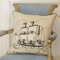 Designer Galleon Mayflower cushion, hand-embroidered, linen