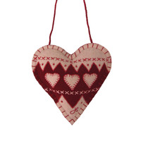 Fair Isle Christmas decoration, heart, red and cream wool