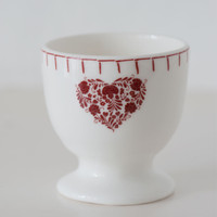 Romany red heart with flowers egg cup, bone china