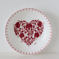 Romany red floral heart small dish, bone china