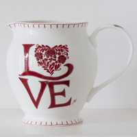 Romany love red floral heart large jug, bone china