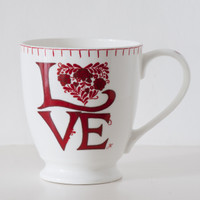 Romany Love red floral heart large mug, bone china