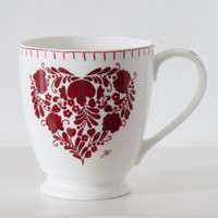 Romany red and white floral heart tall mug, bone china