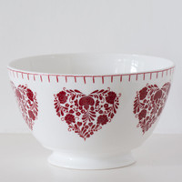 Romany red heart floral large bowl, bone china