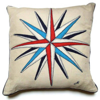 Compass cushion, cream linen, seaside collection, hand-embroidered