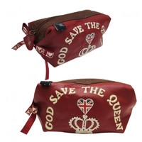 God save the Queen red make-up bag