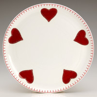 Red hearts designer plate, bone china