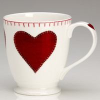 Red heart tall mug, bone china