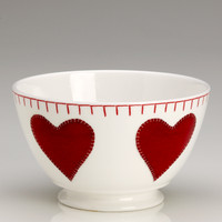 Red hearts small bowl, bone china