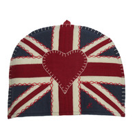 Union Jack navy tea cosy, wool, hand-embroidered
