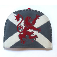 Scottish lion tea cosy, wool, hand-embroidered