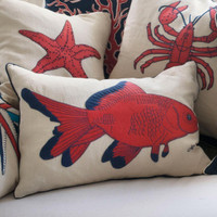 Fish cushion, orange and navy blue wool, cream linen, seaside collection
