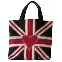 Designer Union Jack bag, black white and red wool, red heart