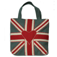 Union Jack designer bag, grey white and red wool