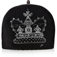 Black velvet diamante crown tea cosy, hand-embroidered