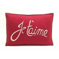 Red Je t'aime cushion - wool