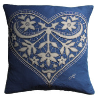 Lacy heart cream and blue linen cushion, hand-embroidered