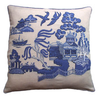 Willow Pattern cushion hand-embroidered, cream & blue - linen
