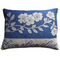 Blue love blossom cushion, cream flowers - linen
