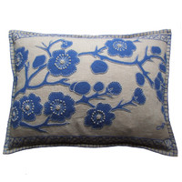 Blue Cherry Blossom Cushion, hand-embroidered, Cream and blue linen