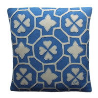China Blue fretwork cushion, designer cushion, cream and blue