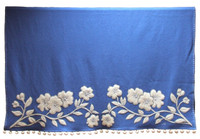 Blue border throw, cream bobbles, flowers