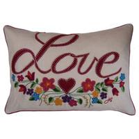 Gypsy Love Cushion, multi-coloured flowers, linen
